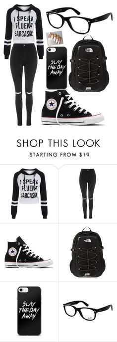 """Outfit #2"" by siriuslyartistic ❤ liked on Polyvore featuring Topshop, Converse, The North Face and Ray-Ban"