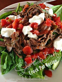 Crock Pot Salsa Verde Shredded Beef | Grounded & Surrounded  - Highlighted on #HomeMattersParty 99