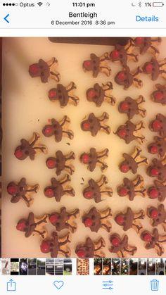 #reindeer #christmas #biscuits. Upside down mini gingerbread men.