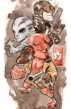 Hellboy, Abe Sapien, and Lobster Johnson by Dustin Nguyen *