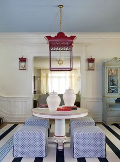 Tobi Fairley, Richmond showhouse, Living room, red white and blue, lantern, stripes, sconces, blue ceiling