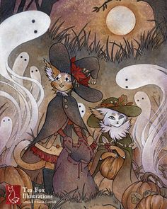 The Gathering / Kitten Witch Halloween / by TeaFoxIllustrations