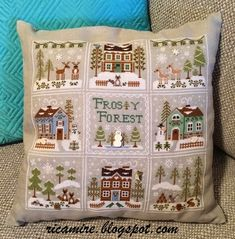 """Frosty Forest"" designs from Country Cottage Needleworks, stitch on Grey Pearl 32ct Belfast Linen with DMC threads. The designs were stitched together and became a cushion when finished - gorgeous."