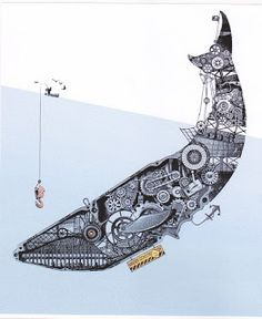 :: mechanical whale thigh tattoo  ::