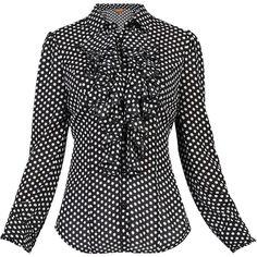 Jolie Moi Mono Polka Dot Ruffle Shirt ($83) ❤ liked on Polyvore featuring tops, blouses, women tops, flounce tops, frill blouse, frilled shirt, frilly shirt and ruffle cuff blouse