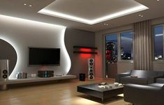 False Ceiling Hall Interior Design false ceiling home dining rooms.Metal False Ceiling New Years. False Ceiling Living Room, Ceiling Design Living Room, Tv Wall Design, False Ceiling Design, Living Room Tv, Living Room Modern, Living Room Designs, Plafond Design, Tv Wall Decor