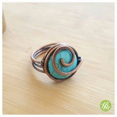 Copper wire ring turquoise copper ring blue by FromRONIKwithLove