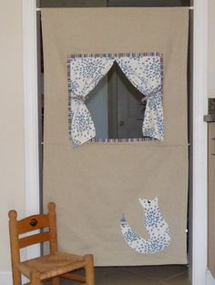 Doorway Puppet Theater Puppet Stage Beige and Blue Fox by LilaKids, $95.00