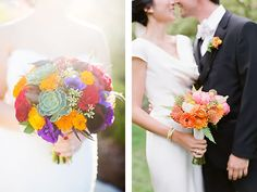 Colorful bouquets with succulents. Janae Shields Photography, San Francisco Wedding Photographer.