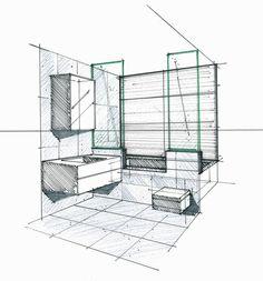 Croquis d'une salle de bains Philippe Ponceblanc Architecte d'intérieur