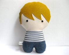 Personalized Stuffed Fabric Doll by citizenscollectible on Etsy, $28.00