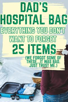 """Dad's Hospital Survival Kit - It's not just mom who needs a hospital bag checklist - dad does, too! He has (theoretically) a super important role to play in baby's birth, so make sure he's prepared by checking out this list of items you don't want him to forget - a """"hospital survival kit for dad"""" if you will."""