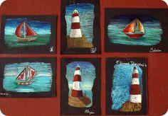 """Les enfants de CP Ce ont terminé le projet """"phare-bateau"""" débuté avant les vacances. Ce petit format est réalisé avec des pastels aqu..."""
