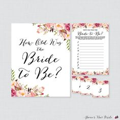 Printable Pink Floral Bridal Shower How Old Was the Bride to Be Bridal Shower Activity with - Game Cards, Display Sign, AND Photo Labels This How Old Was the Bride to Be game is such a fun and personal activity to have at a bridal shower. Display photos of the bride from baby pictures to current and have guests try to guess how old she was in each photo. A display sign and numbered photo labels are included. :::::::::::::::::::::::::::::::::::::::::::::::::::::::: WHAT YOU'LL RECEIVE…