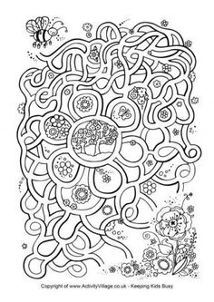 Printable Spring Resources: Mazes, Colouring pages, Find the differences... // Recursos imprimibles de Primavera: laberintos, coloreables, busca las diferencias...