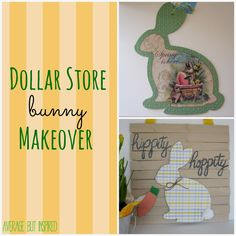 A bunny from the dollar store got a makeover into a cute Easter decoration! Easy instructions at averagebutinspired.com.