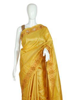 Yellow Tussar Silk Saree with Orange Cut Work – Desically Ethnic