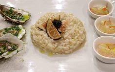 Risotto fichi e caviale - Risotto con scampi marinati al sedano e peperoncino, e ostriche in olio di rucola, di Marika