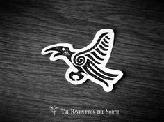 Simple petroglyph style raven tattoo design (v místě Harcov -. Norse Tattoo, Viking Tattoos, Celtic Raven Tattoo, Crow Tattoos, Phoenix Tattoos, Ear Tattoos, Tatoos, Viking Designs, Celtic Designs