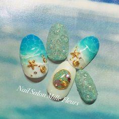 ネイル デザイン 画像 1579232 緑 青 白 スター 水滴 マリン マット リゾート 海 夏 チップ