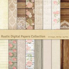 Rustic Digital Papers Collection. Shabby Wood by Graphikcliparts