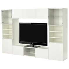BESTÅ TV storage combination - white/high gloss white - IKEA