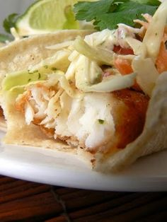 Beer Battered Fish Tacos with Baja Sauce. We didn't fry ours but this baja sauce is perfect for fish tacos. Fish Recipes, Seafood Recipes, Mexican Food Recipes, Cooking Recipes, Recipies, Tilapia Recipes, Sauce Recipes, Seafood Meals, Mexican Meals