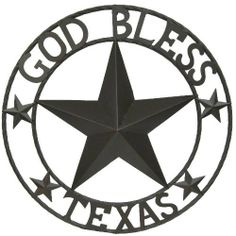 """LL Home Metal Circled Star with Sayings God Bless Texas by LL Home. $25.95. Powder coated metal for rust resistance. Texas themed star wall decor. Indoor or outdoor use. Dark brown color. Metal circled 3 dimentional star with the words """"God Bless Texas"""" around the outer circle. Smaller circled stars decorate front and end of the words."""