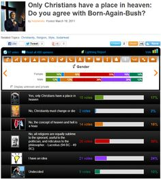 Only Christians have a place in heaven: Do you agree with Born-Again-Bush?     > > > >   >   Click image for results of my blasphemous poll!