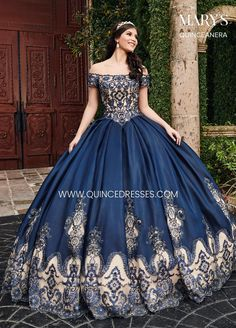 Mary's Quinceanera Elegant shiny dupioni ball gown with a sheer off-the-shoulder neckline, fully embroidered bodice, and sparkling stone and crystal beading. Ball Gown Dresses, 15 Dresses, Elegant Dresses, Bridal Dresses, Fashion Dresses, Elegant Ball Gowns, Sparkly Dresses, Dress Prom, Dresses Online