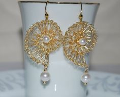 Crocheted Wire Shell Earrings Gold Tone Wire by MyasCreations