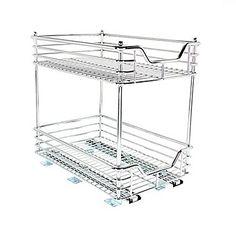 Household Essentials Glidez Chrome 11 1/2in. Two-Tier Under Cabinet Sliding Organizer, Chrome