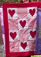Free Valentine's day sewing project - How to sew a Valentine heart quilt.
