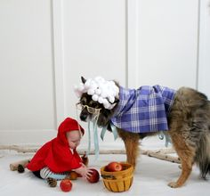 Possibly the most adorable DIY Halloween costumes ever: Little Red Riding Hood and Big Bad Wolf