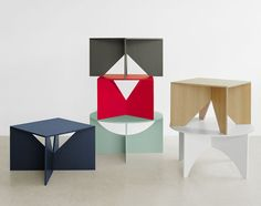 Coffee tables designed by Ferdinand Kramer for e15 in Oak, Walnut, and lacquered in colors.