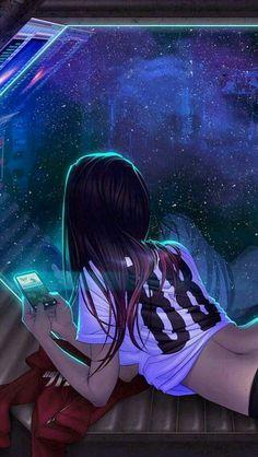 Девушка с телефоном, арт