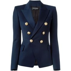 Balmain fitted blazer featuring polyvore, women's fashion, clothing, outerwear, jackets, blazers, blazer, blue, blazer jacket, balmain blazer, balmain, blue jackets and long sleeve jacket