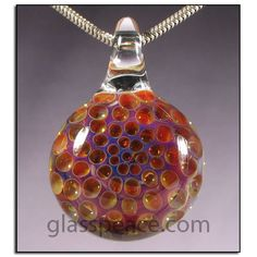 Golden pink and purple honeycomb glass pendant by Glass Peace Honeycomb Pattern, Boro, Local Artists, Blown Glass, Glass Jewelry, Glass Pendants, Purple, Pink, Christmas Bulbs