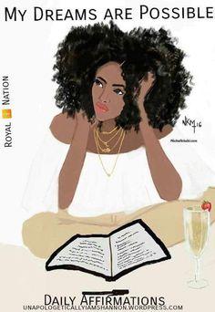Champagne x book x afro = Good Night ~ Niki's Groove Art Black Love, Black Girl Art, My Black Is Beautiful, Black Girls Rock, Black Girl Magic, Art Girl, African American Art, African Art, Native American Indians