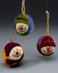 Needle Felted Snowmen these are so much fun to make!!
