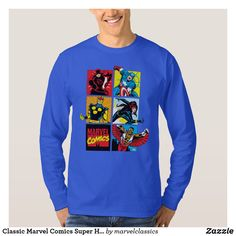 Classic Marvel Comics Super Heroes T-Shirt. Personalize these Classic Marvel character designs and make perfect gifts for any fans. #marvel #comic #gifts #birthday #birthdayparty #birthdaycard #personalize #kids #shopping