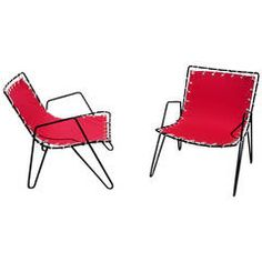 1950s Iron and Canvas Outdoor Sling Chairs | From a unique collection of antique and modern lounge chairs at https://www.1stdibs.com/furniture/seating/lounge-chairs/