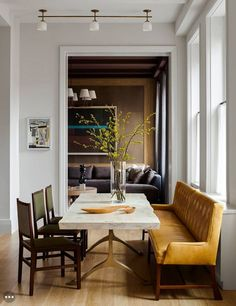 modern farmhouse dining room design, farmhouse dining room decor, neutral dining room with farmhouse dining room table and dining chairs with neutral rug and dining room chandelier and artwork ad white walls Dining Room Inspiration, Interior Inspiration, Inspiration Design, Elle Decor, Interior Desing, Interior Decorating, Decorating Ideas, Interior Colour Schemes, Condo Interior