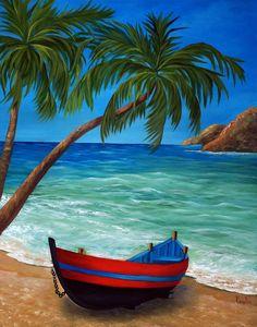 Tropical Beach Painting by Katia Aho