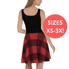 Your place to buy and sell all things handmade Plus Size Skater Dress, Skater Skirt, Plus Size Christmas Dresses, Red Christmas, Holiday, Buffalo Plaid, Dress To Impress, Dresser, Ballet Skirt