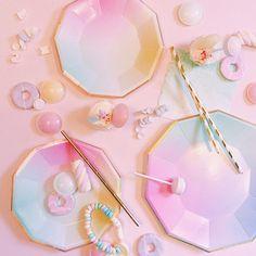 Ombre Party Plates, Unicorn themed birthday party, Magical Unicorn party, Pastel, Meri Meri, children's party, Rainbow, Disco, Baby shower