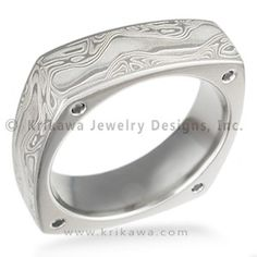 Square Mokume Wedding Band with Diamonds - This mokume wedding band is squared-off.  Looks great on its own or pair it with an engagement ring that is also square-shaped.  Designed with 1.3mm flush-set gemstones stones on each corner.