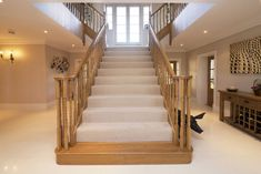 Love a central staircase House Staircase, Staircase Design, Staircases, Timber Stair, Staircase Makeover, Rustic Home Design, Hallway Designs, Wooden Stairs, Timber Frame Homes