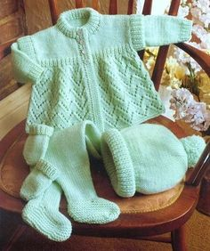PDF Baby Knitting Pattern Layette Pram Set Matinee Coat Bobble Hat Pull Ups Leggings EASY 'Mint-Green' Lacy Cute knitting - The world's most private search engine Layette Pattern, Baby Cardigan Knitting Pattern, Baby Knitting Patterns, Baby Patterns, Pram Sets, Baby Layette, Baby Coat, Knitted Baby Clothes, Jacket Pattern