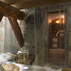 Wine Cellar with a Waterfall